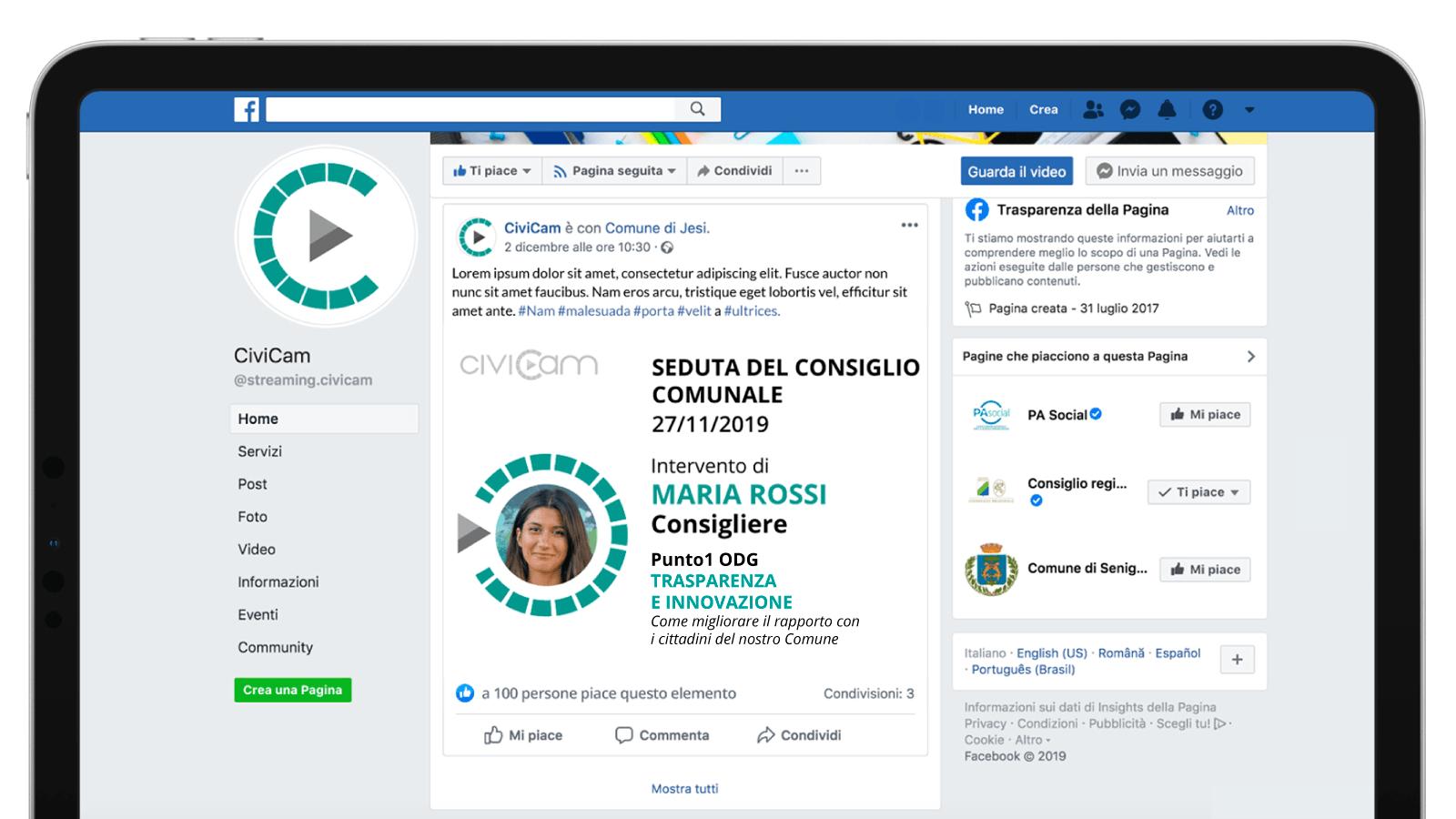 Come condividere la diretta in streaming del consiglio comunale e altri eventi sui Social Media